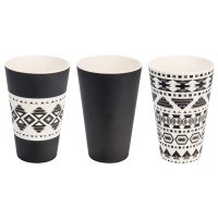 BAMBOO CUP SET (3) AZTEC WHITE BLACK