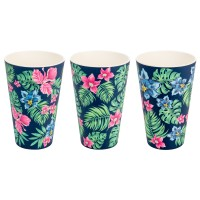 BAMBOO CUP SET (3) TROPICAL