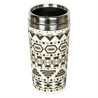 "BAMBOO ""TAKE AWAY"" MUG AZTEC WHITE BLACK"