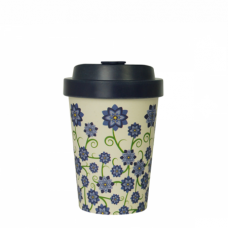 BAMBOO CUP BOUQUET OF FLOWERS BLUE