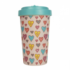 BAMBOO CUP CANDY HEARTS TURQUOISE BLUE
