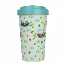 BAMBOO CUP OWLS TURQUOISE BLUE