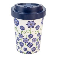 BAMBOO CUP BOUQUET OF FLOWERS BLUE (without packaging)