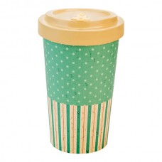 BAMBOO CUP RETRO DOTS/LINE BEIGE